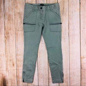 LOFT Green Modern Skinny Ankle Zip Jeans